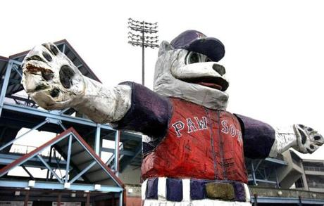Pawtucket;12-26-06; A statue of the Paw Sox mascot looms in front of McCoy Stadium in Pawtucket. Tom Herde/Globe Staff 07pawtucket SLUG: 07pawtucket 3 of 9 CREDIT: Tom Herde/ Globe Staff CAPTION: A statue of the Paw Sox mascot looms in front of McCoy Stadium, home of the Pawtucket Red Sox, the Triple-A affiliate of the Boston Red Sox.